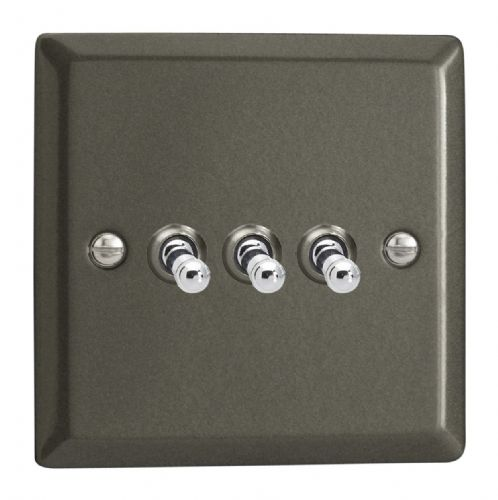 Varilight XPT3 Classic Graphite 21 3 Gang 10A 1 or 2 Way Toggle Light Switch